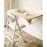 SoBuy® Mesa de cocina, mesa de madera, mesa plegable de pared, mesa de comedor, escritorio, mesa, plegable 2x, 80x60cm FWT02 (natural)