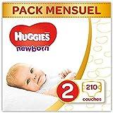 Huggies - Newborn (Nouveaux - Nés) - Couches Bébé Unisexe - Taille 2 (3-6 kg) x210 Couches - Pack 1 Mois de Consommation