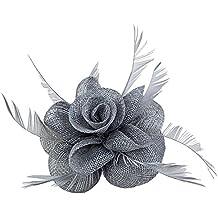 Fascinador de clip de pluma Tocado De La Flor De La Boda Pin de la broche de las mujeres
