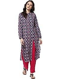 Jaipur Kurti Women's Cotton Kurta Palazzo Set (Blue & Pink)