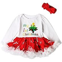 Funnycokid Bebé recién nacido traje de Navidad Romper traje vestido de tutú Bodysuit con la princesa