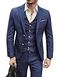 Herren Anzug Slim Fit 3 Teilig mit Weste Sakko Anzughose Business Smoking von Harrms