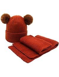 Bonnets tricotés épais et chauds Mignon Grand Deux Pompon Chapeau Design  Hiver Enfants Bonnet Écharpe Unisexe a475ffb931b