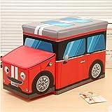 Juguete de dibujos animados infantiles impermeable plegable ropa de almacenamiento taburete coche sofá cajas, rojo, 63*31*25cm,load 150kg