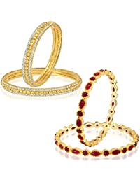 VK Jewels Gold And Rhodium Plated Alloy Bangles Set Combo For Women & Girls Made With Cubic Zirconia - COMBO1453G...