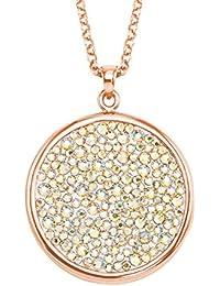 Noelani Damen-Halskette mit Rundem Plaketten-Anhänger Rosévergoldet mit  Kristallen von Swarovski 2dea074cdb