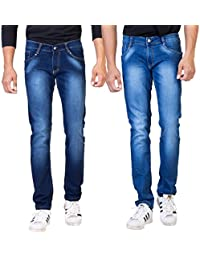 ROAD ROCKERS Men's Slim Fit Dark Blue & Light Blue Denim Jeans (Combo Pack)