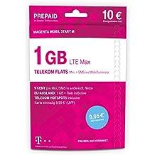 Telekom MagentaMobil Start M Prepaid-Karte mit 1 GB Highspeed-Datenvolumen, LTE Max, HotSpotflat, Flat zu einer persönlichen Zielrufnummer sowie Telefonie und SMS Flat ins Mobilfunknetz