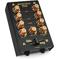 Pronomic DX-10BK DJ Mixer (Kompakter 2-Kanal-DJ-Mixer mit zwei Line-Eingängen und 2-Band Equalizer, Mikrofoneingang mit separatem Laustärkeregler, Master-, Record- und Kopfhörer-Ausgang) Schwarz