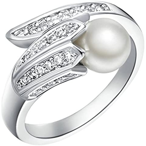 Vmculb Joyería Manera Anillo Chapado en Oro Mujer Plata Perla CZ con Circonitas Diamantes Imitación Pavé Anillos de Eternidad