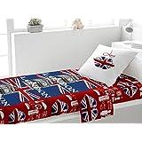 Juego de sábanas de algodón 180x290 cm LONDON LOVE rojo de Soleil d'ocre