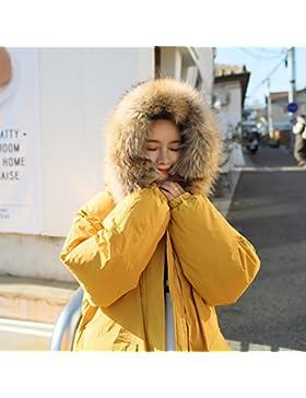 Xuanku Ropa De Algodón De Invierno Espesar Suelto Largo Apartado Down Jacket Jacket, L, Amarillo Limón