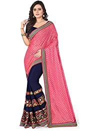85dcb75b507 Riva Enterprise women s Lycra pallu Embroidred pink and blue color women  Saree (RIVA136 )