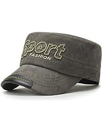 5d00315c1f5d51 ChezAbbey Unisex Solid Brim Flat Top Cadet Caps Adjustable Snapback Corps  Military Stylish Flat Top Hats