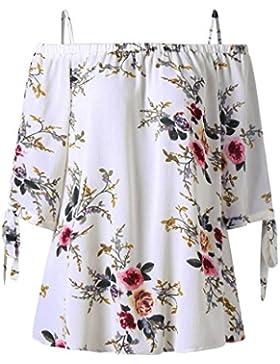 OHQ Camisetas Mujer Verano Blusa Parte Superior del Hombro Estampado Floral Blusa con Hombros Descubiertos Y Estampado...