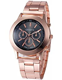 Geneva Small Black Dial Rose Gold Metal Analog Watch For Women, Girls