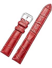 in vera pelle cinturino di ricambio 14 millimetri rosso braccialetto cinturino orologio da polso impermeabile per uomo e donna