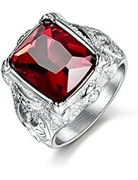 masop Classic grabado acero inoxidable para hombre anillos con rojo sintético Rubí Piedra Plata Tono Tamaño