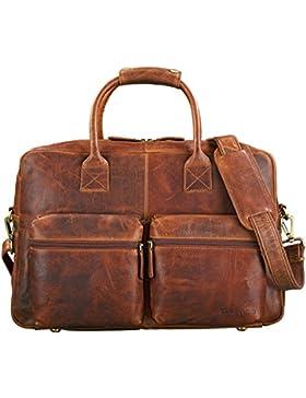 STILORD 'Ben' Vintage Businesstasche Leder groß Unisex Umhängetasche 15,6 Zoll Laptop College Bag Aktentasche...