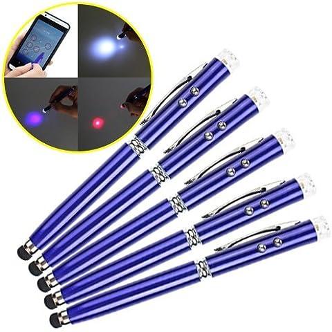 Asnlove 3 EN 1 Portable 5 Kit de Lápiz óptico universal con bolígrafo y linterna LED integrados UV Rojo Blanco Lamp Multi-Funcional con baterías 3pcs LR41 Tactiles Pen Elegante Diseño Tactil pantalla,LED UV Luz y lapices de mano compatible con iPhone 5 SE Samsung N7100 Galaxy Note 2, Galaxy i9300 S3, i8190, S2 i9100, i9268, S5830, i9000, i9500,LG G3,Sony Xperia M2,Motorola Motor