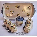 Set Vassoio Ceramica 6 tazzine da caffè Zuccheriera Linea Fiori misti Bordo Blu Handmade Le Ceramiche del Castello Made in Italy Dimensioni vassoio 36 x 17 centimetri