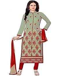 Jheenu Women's Pista Glass Cotton Unstitched Dress Materials