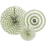 Rosetones Set Verde Diámetro 23, 32, 40 cm 3 Unidades – Pompones farolillos