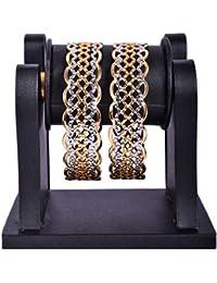 Quail Gold Plated Curved Edge Beautiful Stylish Bangles Bangle Set For Women & Girls