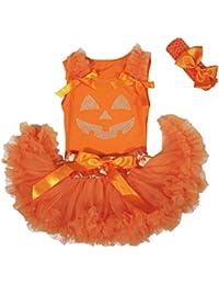 Petitebelle carcasa Halloween calabaza cara naranja bebé niña falda tutú  juego ... ad85886567ea