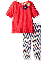 Youngland Baby Girls' Crochet Knit Dress with Knit Legging
