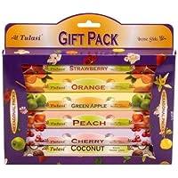 Preisvergleich für Tulasi Räucherstäbchen, 12 Packungen à 6 Frucht Scents Räucherstäbchen, 12 X 6 X 20 = 1440 Stück