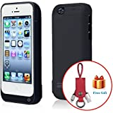 Noza Tec 4200mAh iPhone 5C 5 5S externa Power Pack case back up Power Bank Cargador de batería (Black)