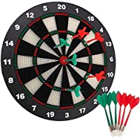 YBCPACK 16.4 Inch Safety Dart Board Safety Dart Set with 6 Soft Tip Darts for Children and Adults, Office and Family Time