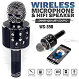DigiPrints Wireless Bluetooth WS-858 Microphone MIC for Singing Recording Condenser Handheld Mike HI FI Speaker with Party Lights (Black)