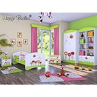 """Preisvergleich für 5-teiliges Set Jugendzimmer Kindermöbel """"Insekten"""" Kinderbett für Mädchen/Jungen"""