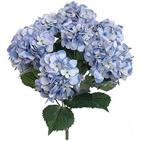 Ppower 7-cabezas ramo de flores hortensia flor artificiales, Decoración de la boda (Azul)