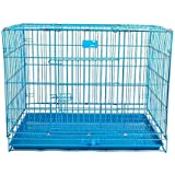 Lovely PET'S KINDOM-Double Door Folding Metal cage with Removable Tray and paw Protector for Dogs,Cats and Rabbits-24' Inch (