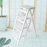 ZCJB Treppenhocker 4 Stufenhocker Folding 4 Tier Holzleiter Portable Step Ladder Leiter Stuhl Bank Sitz Utility Home Küche Tritthocker (Farbe : Weiß)