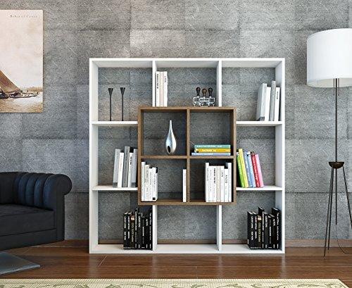LEEF Libreria - Bianco / Noce - Scaffale per libri - Scaffale per ...