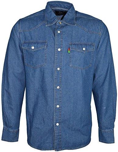 Mens Duke London Denim Stonewash Classic Western Shirt