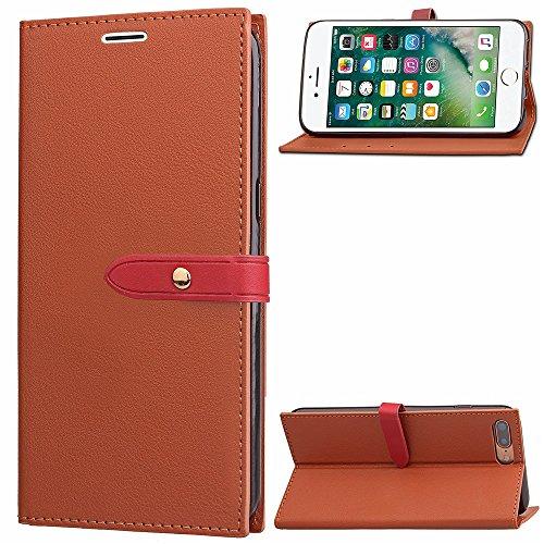 Ultra Thin Leight Poids Housse en cuir PU Business Style Portefeuille Stand Case Retro Folio Pouch Housse avec fente et carte Slots pour iPhone 7 Plus ( Color : Rose ) Brown