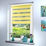 Doppelrollo nach Maß, hochqualitative Wertarbeit, alle Größen und 18 Farben verfügbar, Duo Rollo, Rollo nach Maß, für Fenster und Türen, Klemmfix ohne Bohren (160cm Höhe x 45cm Breite / Gelb)