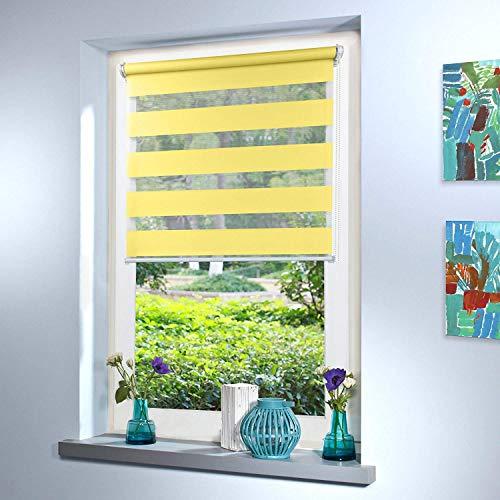 Doppelrollo nach Maß, hochqualitative Wertarbeit, alle Größen und 18 Farben verfügbar, Duo Rollo, Rollo nach Maß, für Fenster und Türen, Klemmfix ohne Bohren (100cm Höhe x 50cm Breite / Gelb)