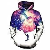 WDBAYXH 3D-Malerei das Universum Hoodie Unisex Space Galaxy Sweatshirt mit Kapuze Trainingsanzug Feder Tops Marke Pullover Sweatshirts, M
