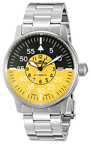Fortis Men's 595.11.14 M Flieger Cockpit Yellow Analog Display Automatic Self Wind Silver Watch