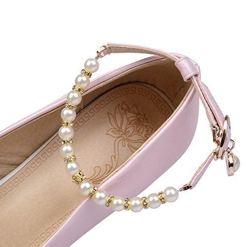AllhqFashion Femme Rond Tire Microfibre Couleur Unie à Talon Correct Chaussures Légeres Rose