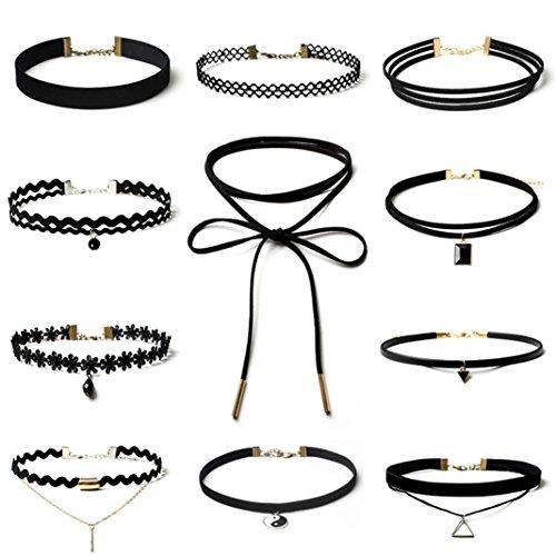 LHWY 11 Piezas Collar Gargantilla de Encaje Gótico Clásico Estiramiento Negro