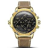 SFHGKK Herren Quarzuhr, Outdoor Casual Sport Watch Quartz Waterproof 3ATM Fashion Large Dial High Quarz Dual Time Zone Multifunktion Business Men Uhren,Gold