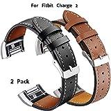 Xnature Unisex Youth Armband Leder Charge 2 Fitbit, Schwarz + Braun, 5,5