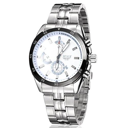 Unendlich U Fashion Sport Herren Armbanduhr Weiß Zifferblatt mit Kalender Edelstahl Armband Wasserdicht Analog Quarz Uhr